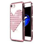 Heart Diamond Bling Electroplating Transparent Case for iPhone 8 / 7 - Rose Gold