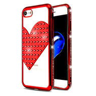 Heart Diamond Bling Electroplating Transparent Case for iPhone 8 / 7 - Red