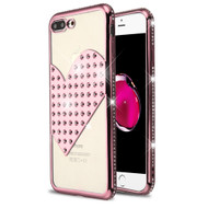 Heart Diamond Bling Electroplating Transparent Case for iPhone 8 Plus / 7 Plus - Rose Gold