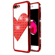 Heart Diamond Bling Electroplating Transparent Case for iPhone 8 Plus / 7 Plus - Red