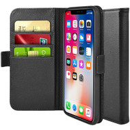 *Sale* Genuine Leather Flip Folio Wallet Case for iPhone XS / X - Black