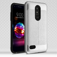 Leather Texture Anti-Shock Hybrid Protection Case for LG K30 - Silver
