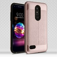 Leather Texture Anti-Shock Hybrid Protection Case for LG K30 - Rose Gold