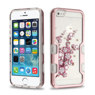 TUFF Panoview Diamante Transparent Hybrid Case for iPhone SE / 5S / 5 - Spring Flowers Rose Gold