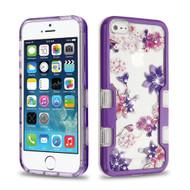 TUFF Panoview Diamante Transparent Hybrid Case for iPhone SE / 5S / 5 - Purple Stargazers