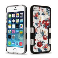 TUFF Panoview Diamante Transparent Hybrid Case for iPhone SE / 5S / 5 - Roses Black