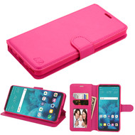 Book-Style Leather Folio Wallet Case for LG Stylo 4 - Hot Pink