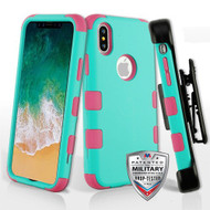 Military Grade Certified TUFF Hybrid Armor Case with Holster for iPhone XS / X - Teal Green Electric Pink 048