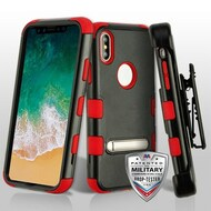 Military Grade Certified TUFF Hybrid Armor Kickstand Case with Holster for iPhone XS / X - Black Red