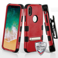 Military Grade Certified TUFF Hybrid Armor Kickstand Case with Holster for iPhone XS / X - Red