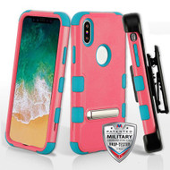 Military Grade Certified TUFF Hybrid Armor Kickstand Case with Holster for iPhone XS / X - Pink Teal
