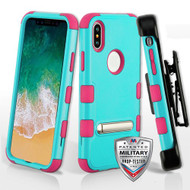 Military Grade Certified TUFF Hybrid Armor Kickstand Case with Holster for iPhone XS / X - Teal Green Electric Pink