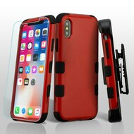 Military Grade Certified TUFF Hybrid Armor Case with Holster + Tempered Glass Screen Protector for iPhone XS / X - Red