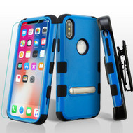 Military Grade Certified TUFF Hybrid Kickstand Case + Holster + Tempered Glass Screen Protector for iPhone XS / X - Blue
