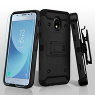 3-IN-1 Kinetic Hybrid Armor Case with Holster and Tempered Glass Screen Protector for Samsung Galaxy J3 (2018) - Black