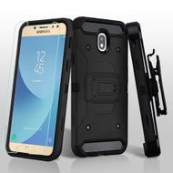 3-IN-1 Kinetic Hybrid Armor Case with Holster and Tempered Glass Screen Protector for Samsung Galaxy J7 (2018) - Black
