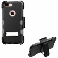 Military Grade Certified TUFF Hybrid Armor Kickstand Case with Holster for iPhone 8 Plus / 7 Plus - Black Iron Grey