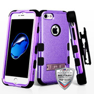 Military Grade Certified TUFF Hybrid Armor Kickstand Case with Holster for iPhone 8 / 7 - Purple