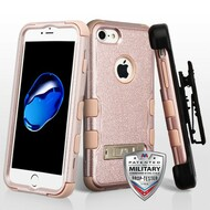 Military Grade Certified TUFF Hybrid Armor Kickstand Case with Holster for iPhone 8 / 7 - Rose Gold 404