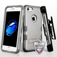 Military Grade Certified TUFF Hybrid Armor Kickstand Case with Holster for iPhone 8 / 7 - Grey