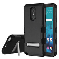 Military Grade Certified TUFF Hybrid Armor Case with Stand for LG Stylo 4 - Black
