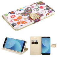 *Sale* Luxury Bling Portfolio Leather Wallet Case for Samsung Galaxy J7 (2018) - Butterfly Wonderland