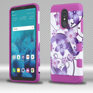 Military Grade Certified TUFF Image Trooper Dual Layer Hybrid Armor Case for LG Stylo 4 - Purple Hibiscus Flower Romance
