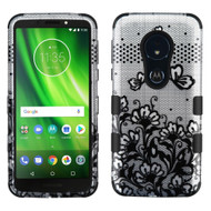 Military Grade Certified TUFF Image Hybrid Armor Case for Motorola Moto G6 Play / G6 Forge - Lace Flowers Black