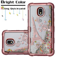 Tuff Lite Quicksand Electroplating Case for Samsung Galaxy J3 (2018) - Eiffel Tower Rose Gold