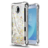 *Sale* Tuff Lite Quicksand Electroplating Case for Samsung Galaxy J3 (2018) - Eiffel Tower Silver