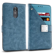 Cosmopolitan Leather Canvas Wallet Case for LG Stylo 4 - Blue