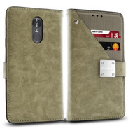 *Sale* Cosmopolitan Leather Canvas Wallet Case for LG Stylo 4 - Grey