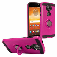 *Sale* Sports Hybrid Armor Case with Smart Loop Ring Holder for Motorola Moto E5 Plus - Hot Pink