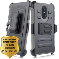 *SALE* Advanced Armor Hybrid Kickstand Case with Holster and Tempered Glass Screen Protector for LG Stylo 4 - Grey
