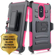 Advanced Armor Hybrid Kickstand Case with Holster and Tempered Glass Screen Protector for LG Stylo 4 - Hot Pink