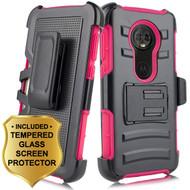 Advanced Armor Hybrid Kickstand Case + Holster + Tempered Glass Screen Protector for Motorola Moto E5 Plus - Hot Pink