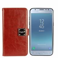 Leather Wallet with Removable Magnetic Case for Samsung Galaxy J3 (2018) - Brown