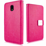 *Sale* Leather Wallet with Removable Magnetic Case for Samsung Galaxy J3 (2018) - Hot Pink