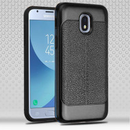 Leather Texture Anti-Shock Hybrid Protection Case for Samsung Galaxy J3 (2018) - Black