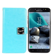 Leather Wallet with Removable Magnetic Case for Samsung Galaxy J7 (2018) - Baby Blue