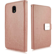 *Sale* Leather Wallet with Removable Magnetic Case for Samsung Galaxy J7 (2018) - Rose Gold