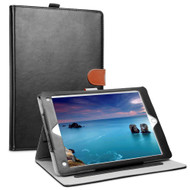 Smart Leather Folio Wallet Stand Case with Auto Sleep/Wake for iPad (2018/2017) / iPad Air - Black