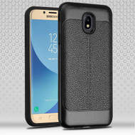 Leather Texture Anti-Shock Hybrid Protection Case for Samsung Galaxy J7 (2018) - Black
