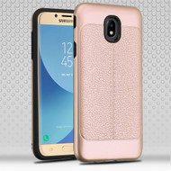 Leather Texture Anti-Shock Hybrid Protection Case for Samsung Galaxy J7 (2018) - Rose Gold