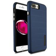 Haptic Dots Texture Anti-Slip Hybrid Armor Case for iPhone 8 Plus / 7 Plus - Navy Blue