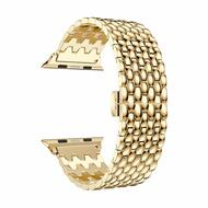 Stainless Steel Link Bracelet Watch Band with Butterfly Lock for Apple Watch 42mm - Gold