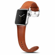 Genuine Cowhide Leather Watch Band for Apple Watch 38mm - Brown