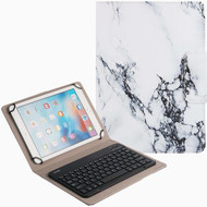 Marble Design Folio Case with Magnetic Detachable Bluetooth Wireless Keyboard for iPad 9.7 - 10.5 inch - White