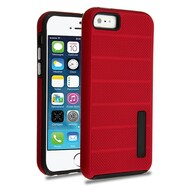 Haptic Dots Texture Anti-Slip Hybrid Armor Case for iPhone SE / 5S / 5 - Red