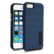 Haptic Dots Texture Anti-Slip Hybrid Armor Case for iPhone SE / 5S / 5 - Navy Blue